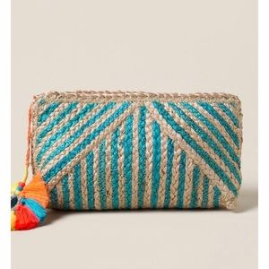 Handbags - Turquoise Straw Zip Close Clutch W/Tassel